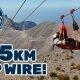 Maailma pikim zipline on 2.5 km pikk ja seal saab arendada kiirust kuni 150km/h